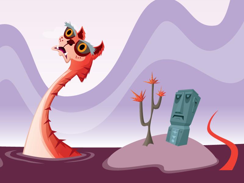 Middle IV phoenix vector illustration statue tiger monster dragon sea monster