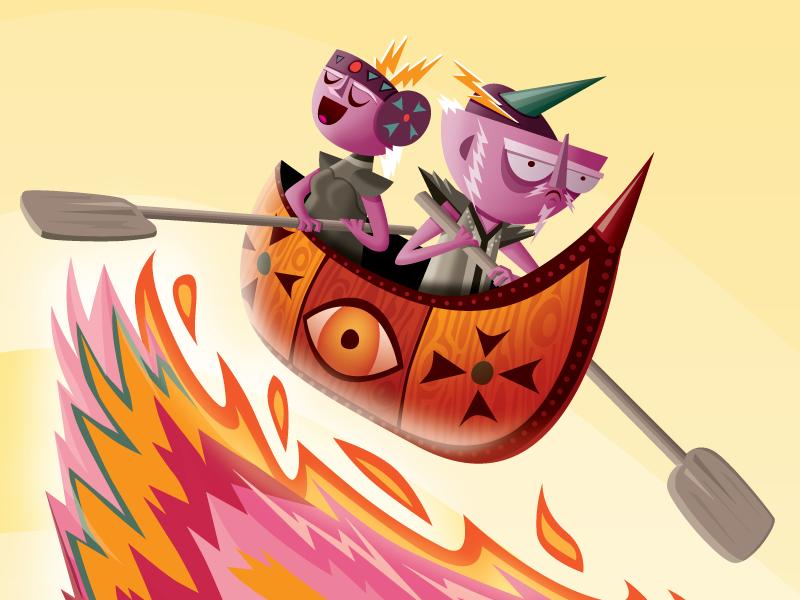 Middle V phoenix vector illustration boat tribe