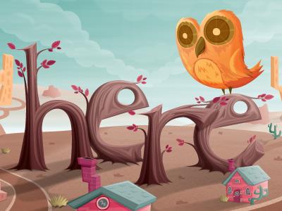 Here V2 owl here otto illustration vector art show