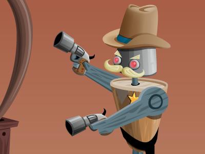 Robo Cowboy illustration robo-cowboy pistols desert video game game art vector art adobe illustrator cowboy hat