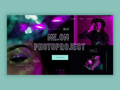 Neon photo project web page photography typography ux ui design