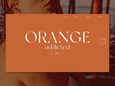 Orange web page with fashion sacral web ux ui photography photo minimal design
