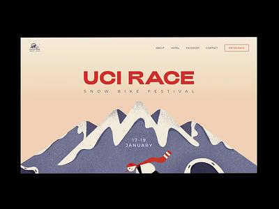 Snowbike festival web page animation concept landing web typography ux ui illustration minimal design