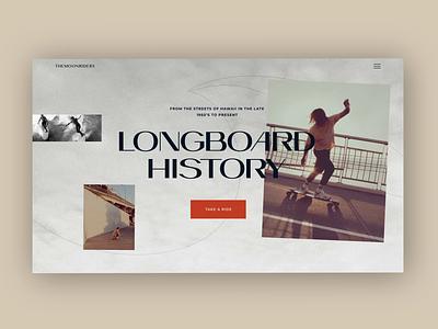 Longboard history landing concept animation web icon web photo photography ux ui minimal illustration design