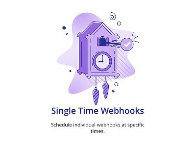 Single Time Webhooks - Looper webhook task clock pattern gradients linework illustration flat