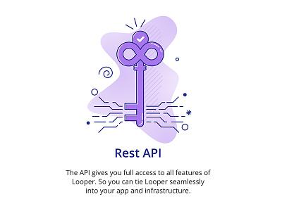 Rest Api for Looper looper webhooks data api key pattern gradients linework illustration flat