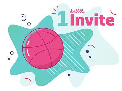 1 Dribbble Invitation! ball linework pattern illustration flat invite dribbble invitation