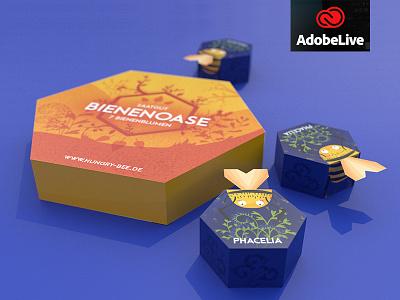 Hungry Bee - Packaging Design bei Adobe Live packaging hungrybee honeycomb bienenoase bienen bee adobelive adobedimension adobe