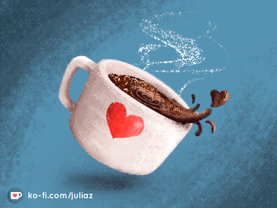 Buy me a Ko-Fi heart cup coffee texture illustration ko-fi