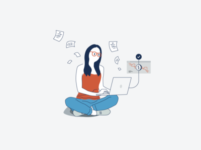No fees, no papers. documents isometric office woman sketch drawing illustration