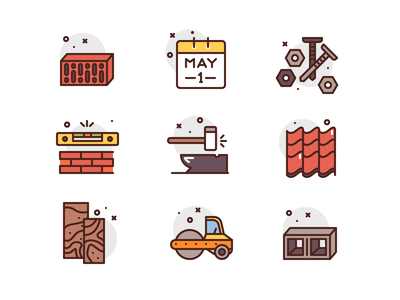 Labor Day Icons brick roof parquet premium illustration icons construction labor day