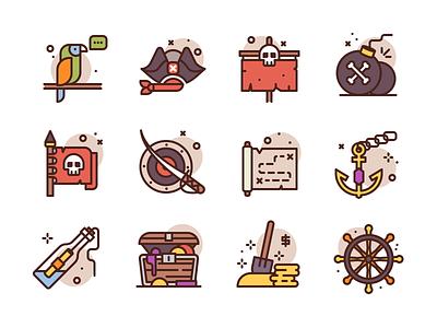 Pirate Icons bomb flag treasure sword skull premium icon icons