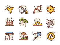 Spring Icons worm kite eggs fence bird sun illustration icons