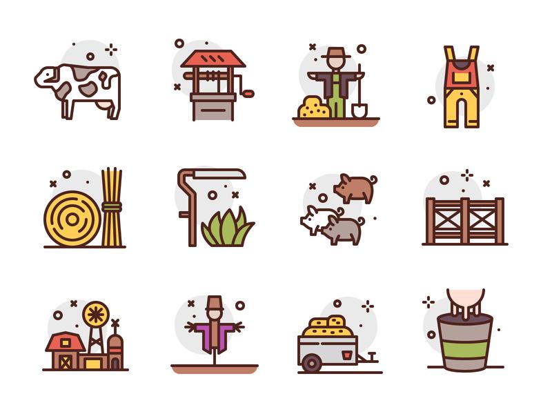 Farming Icons farm garden character illustration icon premium icons