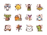 Toys Icons cat yoda dino spaceship airplanes toy premium illustration icons
