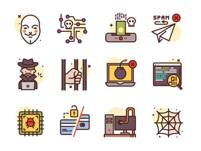 Hacking Icons cyber crime computer hacker freebie illustration icons