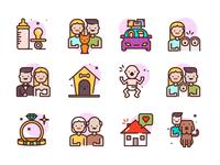 Family Icons baby cat dog illustration wedding icons family