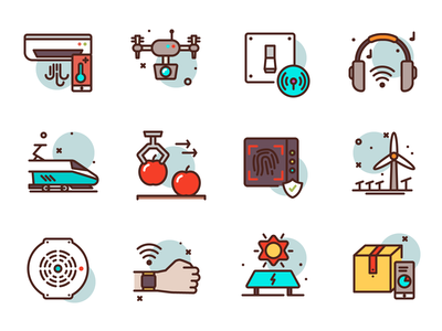 Smart Tech Icons smart house mobile box train industry premium illustration icons