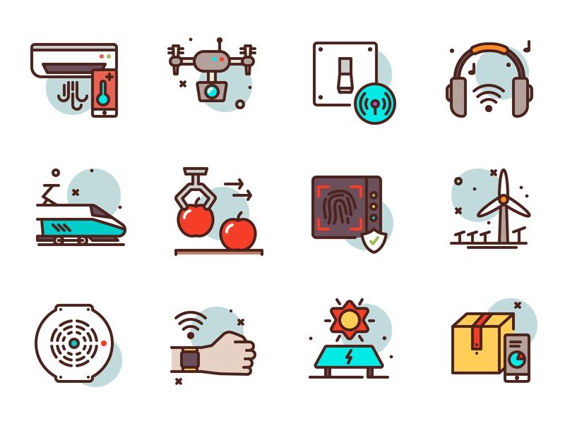 Smart Tech Icons smart house mobile box train industry premium illustration icons