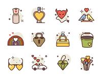 Love Icons car rainbow dress birds heart illustration icons