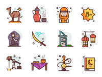 Islam Icons religious sword quran tourism muslim arabic illustration icons