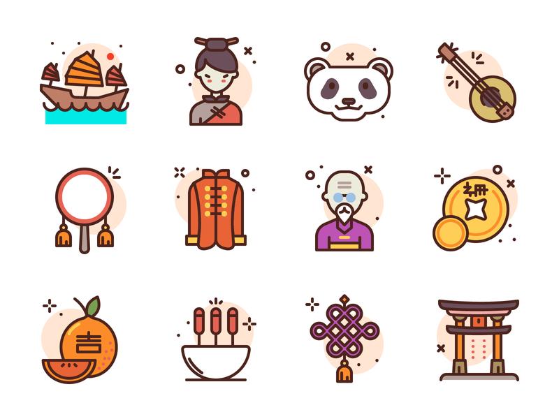 Chinese Icons coin masters chinese food orange ship master panda china illustration icons