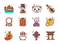 Chinese Icons coin masters chinese food orange ship master panda china illustration icons