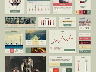 Coloro UI Kit Freebie freebie free ui kit colored vintage flat ux user profile dashboard statistics