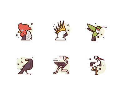 Birds Icons crow parrot bird illustration icons