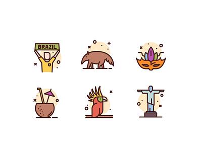 Brazil coconut parrot rio brazil illustration freebie icons