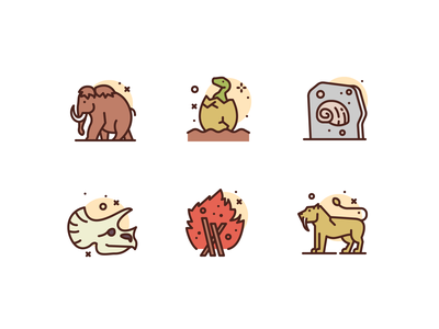 Prehistorical Icons history prehistoric premium illustration icons