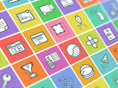Dropicons Squared outline colored set essentials meteor illustration icon freebie premium