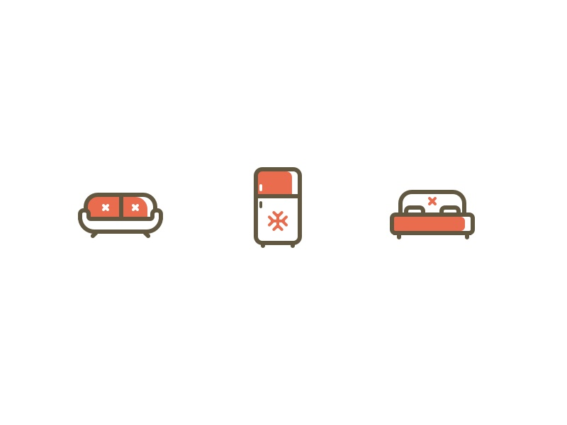 Furniture Icons furniture icons illustration colored simple outline thick stroke