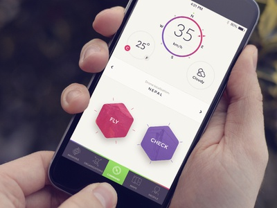 Command Screen controller shadow colored minimalistic flat iphone ios app ux ui drone