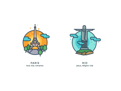 Another kind of icons 3 world trip love paris religion jesus romance illustrations icons