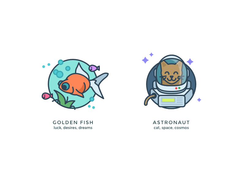 Another kind of icons 4 charm golden water fish space astronaut character icons illustration