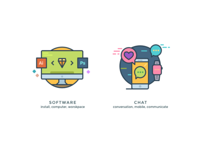 Another kind of icons 6 chat apple smartwatch software worskpace pc imac illustrations icons
