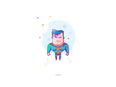 Superman is super hero movie character light color superhero icon illustration