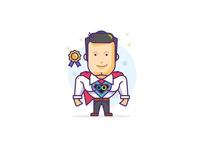 Executive Character icon superhero chief boss director hire job avatar illustration character