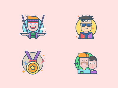 Icons for mobile app junkie fly family award art adrenaline illustrations icons