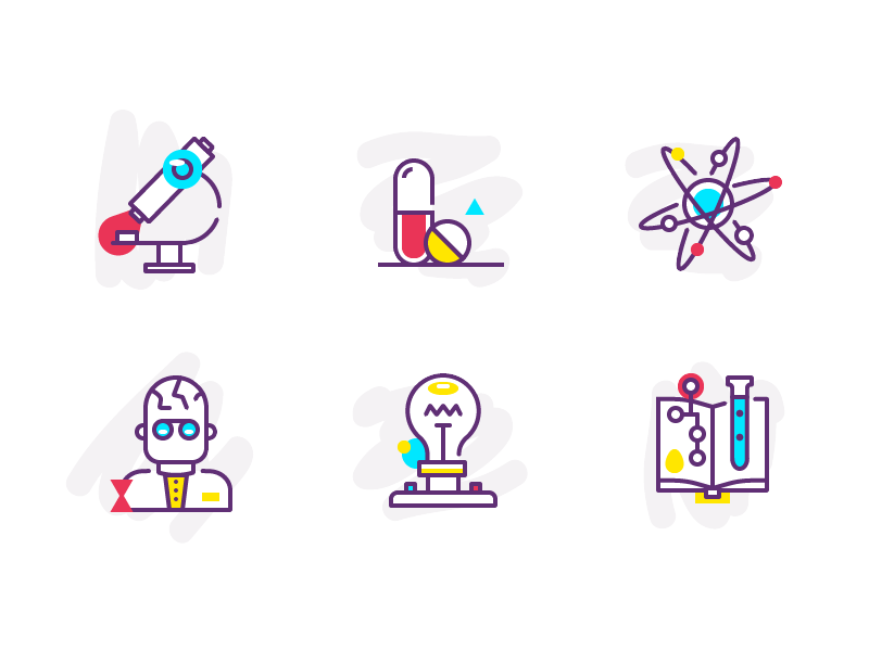 Playing with icon styles study chemistry medical science outline colour icons