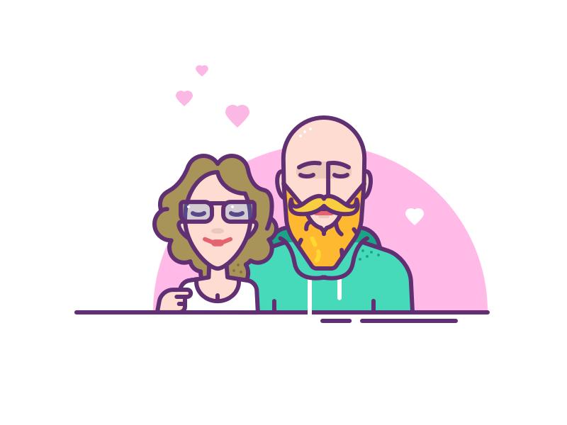 003. Family portrait autoportrait character love team glasses beard wife husband diary family