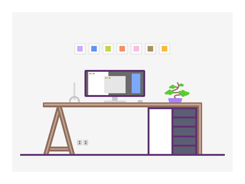 004. Workspace macbook display bonsai modern furniture office desk desktop illustration workspace