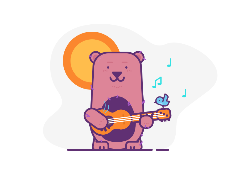 007.Guitar singer tweet bird music illustration bear guitar