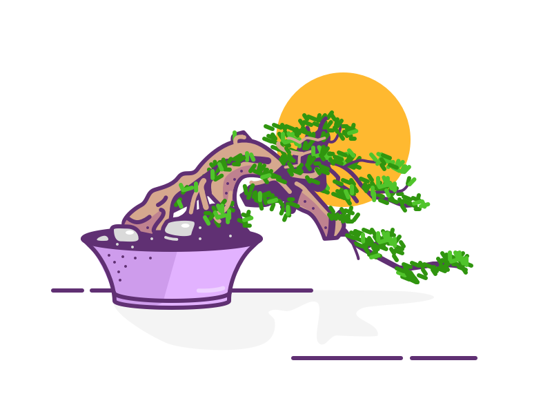 008. Bonsai illustration relax garden japanese sun plant bonsai