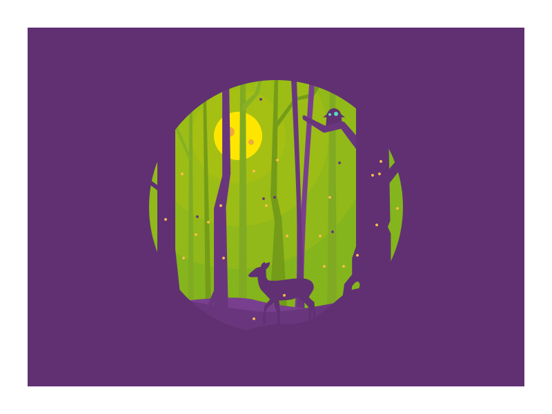 009. Deer moon peaceful night tree icon illustration forest deer