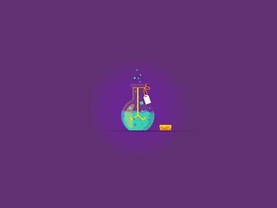 Secret Project flat illustration icon idea light bulb chemical chemistry potion