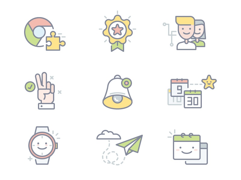 Meeting Icons calendar watch send plane bell hand chrome team illustrations icons