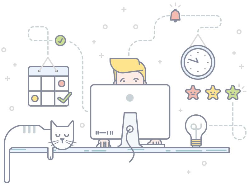 Schedule - Front-page Illustration work guy friend cat idea bulb calendar notification bell desk clock