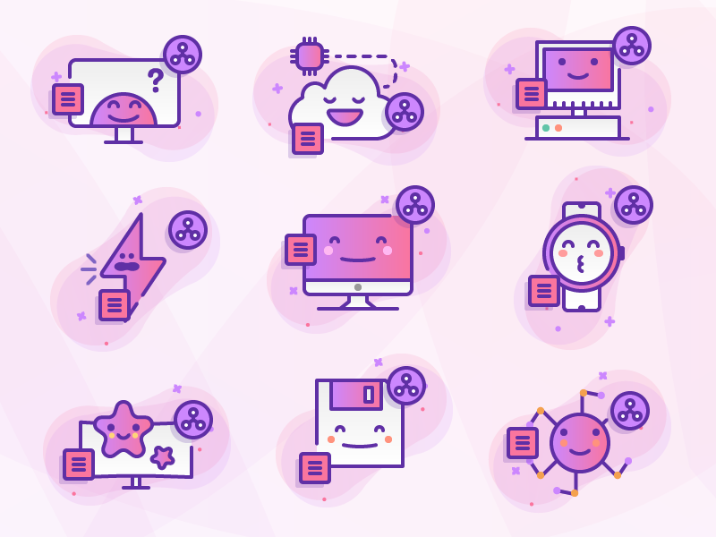 Techy Icons cloud save imac computer illustration premium icons